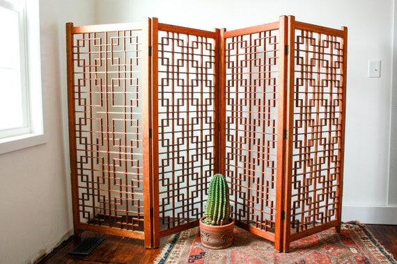 3e90b60c0ffe7 Vintage Room Divider Panels Boho Room Divider Four Panel