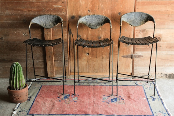 Groovy Set Of 3 Vintage Bar Stools With Back Mid Century Modern Bar Stools Arthur Umanoff Stool Industrial Mid Century Kitchen Stool Slat Stool Pabps2019 Chair Design Images Pabps2019Com