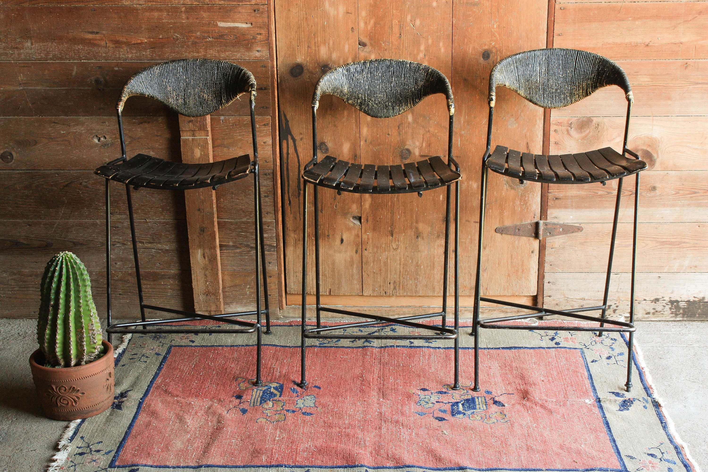 Set Of 3 Vintage Bar Stools With Back Mid Century Modern Bar Etsy