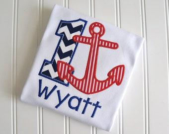 Nautical Anchor First Birthday Shirt, Anchor Birthday Shirt, Nautical Birthday shirt, Anchor Monogram Shirt, Anchor First Birthday
