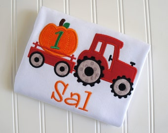 Pumpkin Tractor, Fall Tractor Shirt, Red Tractor Pumpkin, Pumpkin Birthday, Tractor Birthday, Halloween Tractor, Pumpkin Patch Shirt, Fall