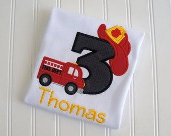 Fire Truck Birthday Shirt, Firefighter Birthday, Fire Department, Fireman Birthday, Sound the Alarm, Fire Hat Shirt, Firetruck 1st Birthday