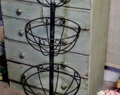 Vintage Iron Tier Plant Stand, Wrought Iron Plant Stand, French Garden Planter, Basket Stand