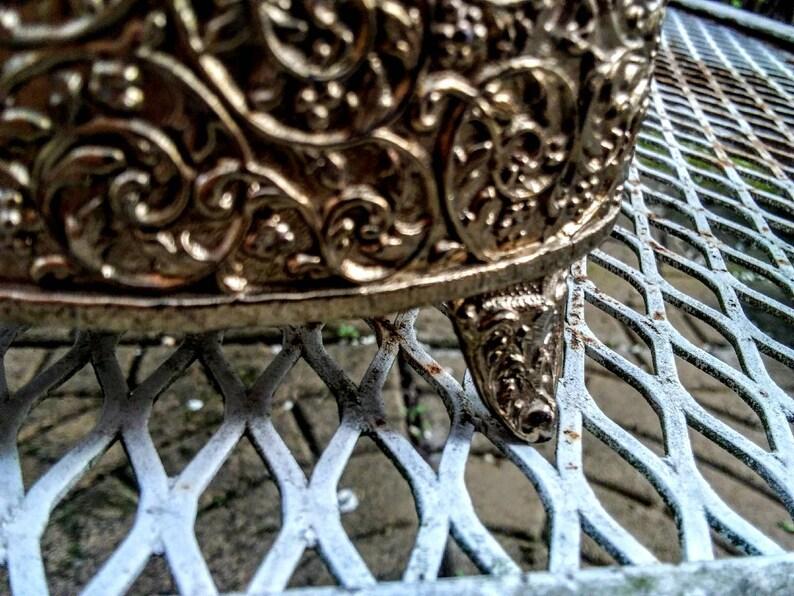 Red Velvet French Boudoir Jewel Casket Gold Filigree Vintage Vanity Box Vintage Brass Oval Jewelry Box