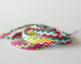 Handmade Zig Zag Woven Colourful Stripe Friendship Bracelet | Adjustable | Cotton Gift | Summer | Festival | Sustainable | Beach Surf | Cute
