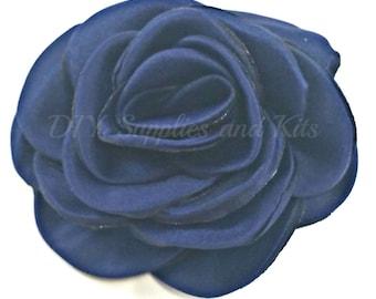 "Navy - 3"" Rose petal flower - Navy flower"