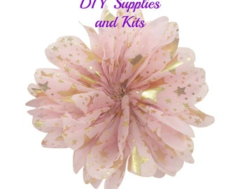 """3.5"""" Pink gold stars speckle flower - Fabric flower - Pink flowers"""