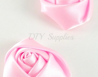 """1.5"""" Pink rolled rosettes - Wholesale flowers - Fabric flower - Rolled satin flower - Headband supplies - Small rose flower - Set of 2"""