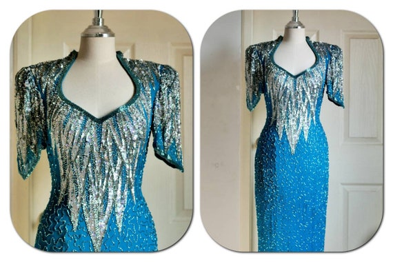 1980s Turquoise Sequin Beaded prom dress