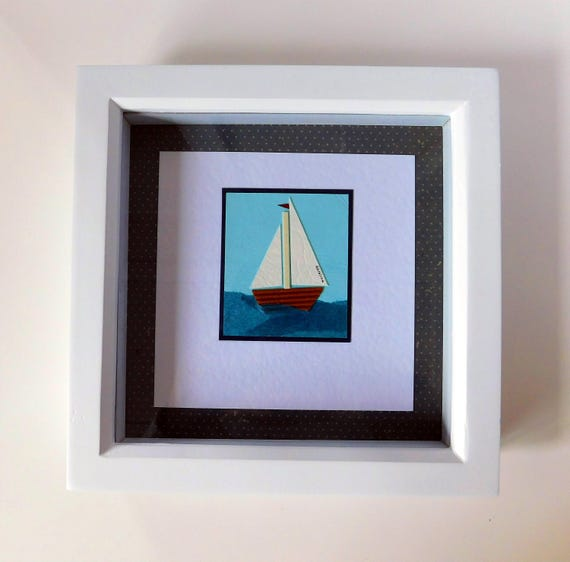 Unique Wall Art Nautical Gift Home Shadow Box Art Handmade Gifts Boat Decoration Ocean Gift Ideas Box Frame Paper Art 3d Art Box