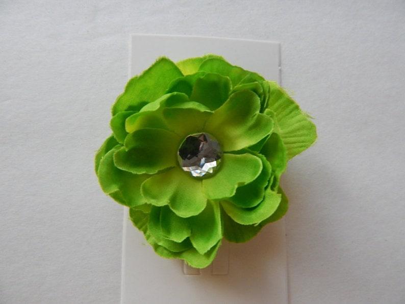 girls hair accessories girls hair flower flower clip Children toddler petite Flower girls Lime Green Hair Flower clip