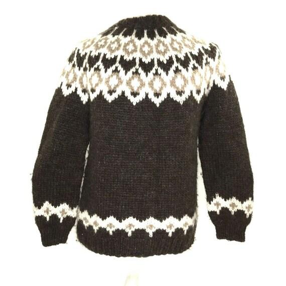 Mens Wool Sweater Icelandic Fair Isle Nordic Fishe