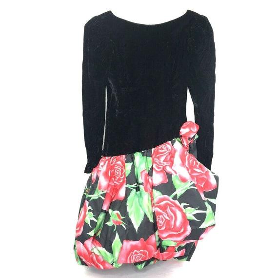 Handmade Dress Velvet 80s Prom Crinoline Floral Bu