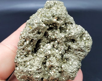 Pyrite Cluster Specimen  Iron Pyrite aka Fools Gold Mineral Cluster  316 grams  2.8 inches long