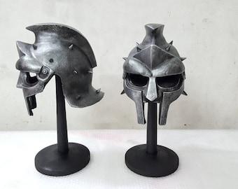 d4f2db0d1e1 Gladiator Maximus Helmet Medieval Roman Greek Spartan Prop Replica 1 1 Full  Scale Head Cosplay Costume Accessories Handmade Quality.