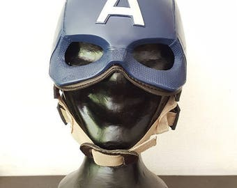 Captain America Helmet and Mask Prop Replica 1:1 Full Scale Head Cosplay Costume Accessories Handmade Quality.