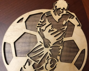 Custom Soccer Trophy Wall Plaque/scroll saw plaque/Laser Cut Plaque/Walnut and Maple Plaque