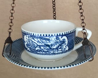 Bird Feeder, Hanging Bird feeder, Teacup Bird Feeder, Currier and Ives, Handcrafted, Vintage Recycled, Upcycled, Bird Lover, Wedding Gift