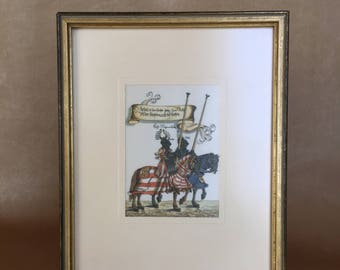 Framed Silk Print, Medieval Knights, West Germany, Hans Pille-Ducree, Print on Silk, Jousting Knight, Renaissance Era, Middle Ages, Medieval