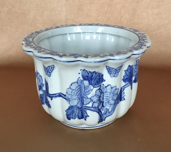 Blue And White Chinoiserie Planter Tulip Shaped Hand Etsy