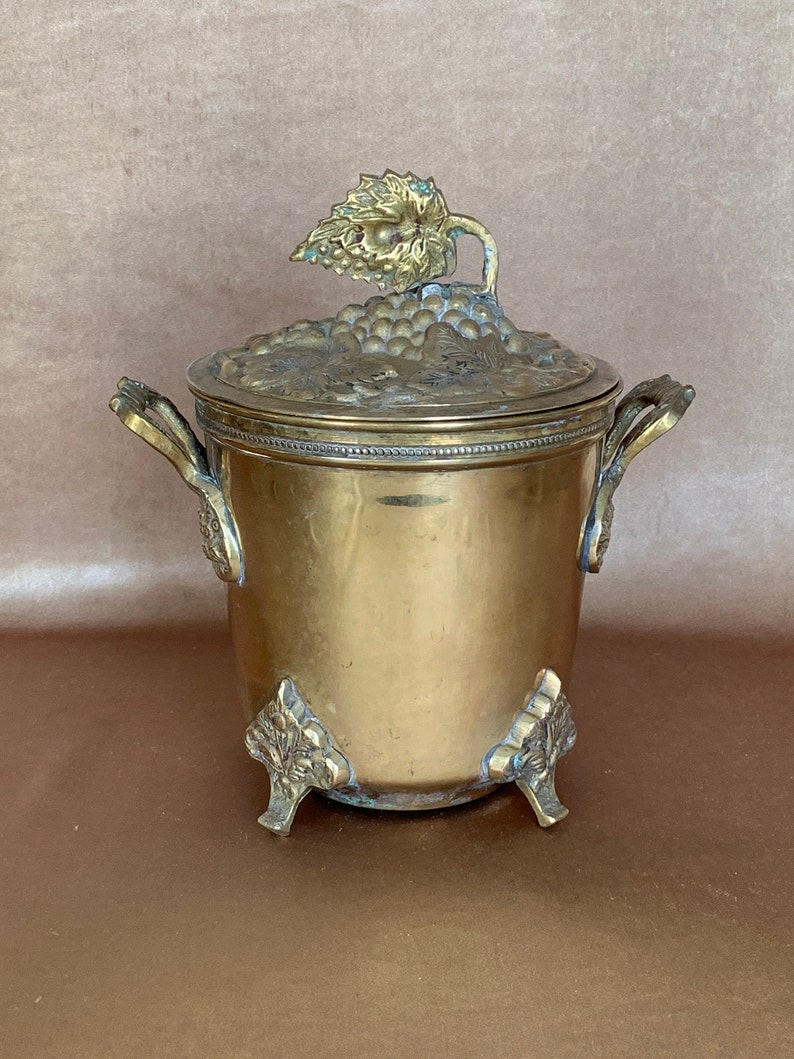 Vintage Ornate Brass Lidded Urn Made By Decorative Crafts Inc In India