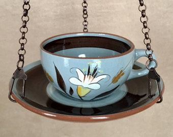Hanging Bird Feeder, Teacup Bird feeder, Birdfeeder, Recycled, Stangl Pottery, Gardener Gift, Vintage Yard Art, Bird Lovers, Bird Watching