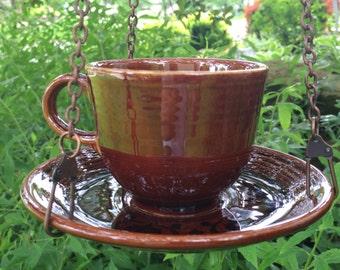 Bird Feeder, Hanging Bird Feeder, Teacup Bird Feeder, Vintage Dish, Ombre Brown, Mid Century Style, Ceramic, Birdfeeder, Upcycled Feeder