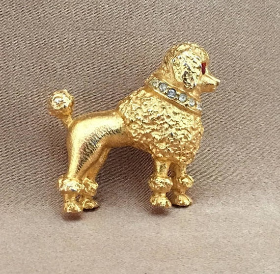 Hattie Carnegie, Poodle Pin, Stamped, Signed, Gold