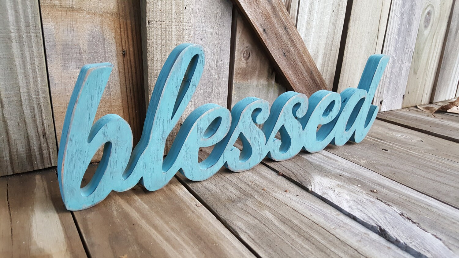 Blessed wooden letters freestanding wall hanging wall