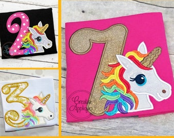 Rainbow Unicorn Birthday Set Digital Machine Embroidery Applique Design 4 sizes, unicorn numbers birthday applique