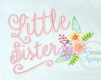 4 SIZES Little Sister Digital Machine Embroidery Design, little sister embroidery, sibling sister embroidery, siblings embroidery, lil sis