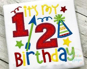 Its My 1 2 Half Birthday Applique Digital Machine Embroidery Design 4 Size