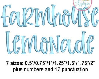7 Sizes Farmhouse Lemonade Embroidery Alphabet Font Digital Machine Embroidery, A to Z, numbers, symbols, punctuation