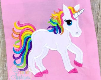 Rainbow Unicorn Digital Machine Embroidery Applique Design 4 sizes, unicorn applique, rainbow pony applique, rainbow unicorn applique