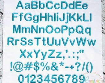 5 SZIES!!! Basic Embroidery Alphabet Font Digital Machine Embroidery 5 sizes, A thru Z, numbers, 19 punctuation symbols, includes BX format