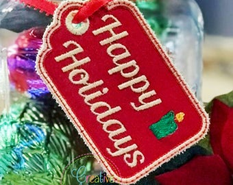 Happy Holidays Gift Tag label In the Hoop Applique Machine Embroidery Design, gift tag in the hoop applique design
