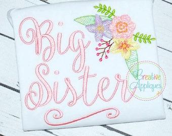 4 SIZES Big Sister Digital Machine Embroidery Design, big sister embroidery, sibling sister embroidery, siblings embroidery, big sis