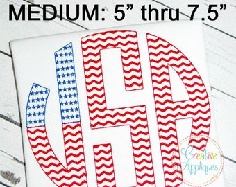 2e8617794ca MEDIUM Natural Circle Flag Stars Stripes Monogram Embroidery Alphabet Font  Digital Machine Embroidery
