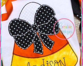 Bean Stitch Candy Corn Bow Halloween Digital Machine Embroidery Applique Design 4 Sizes, candy corn applique, halloween candy applique
