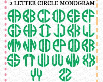 2 letter circle monogram font svg eps dxf cutting file circle font svg circle alphabet cut file 2 letter font svg natural circle font svg