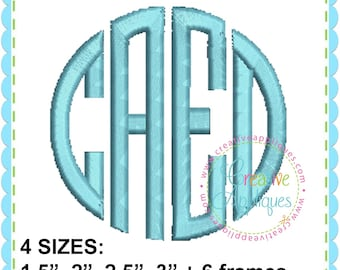 EXCLUSIVE 4 Sizes BX Natural Circle 4 Letter Monogram Embroidery Alphabet Font + 6 frames Digital Machine Embroidery. four letter monogram