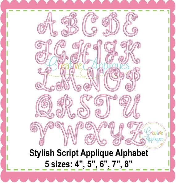 Stylish Script Applique Alphabet Letters A Z Machine Etsy