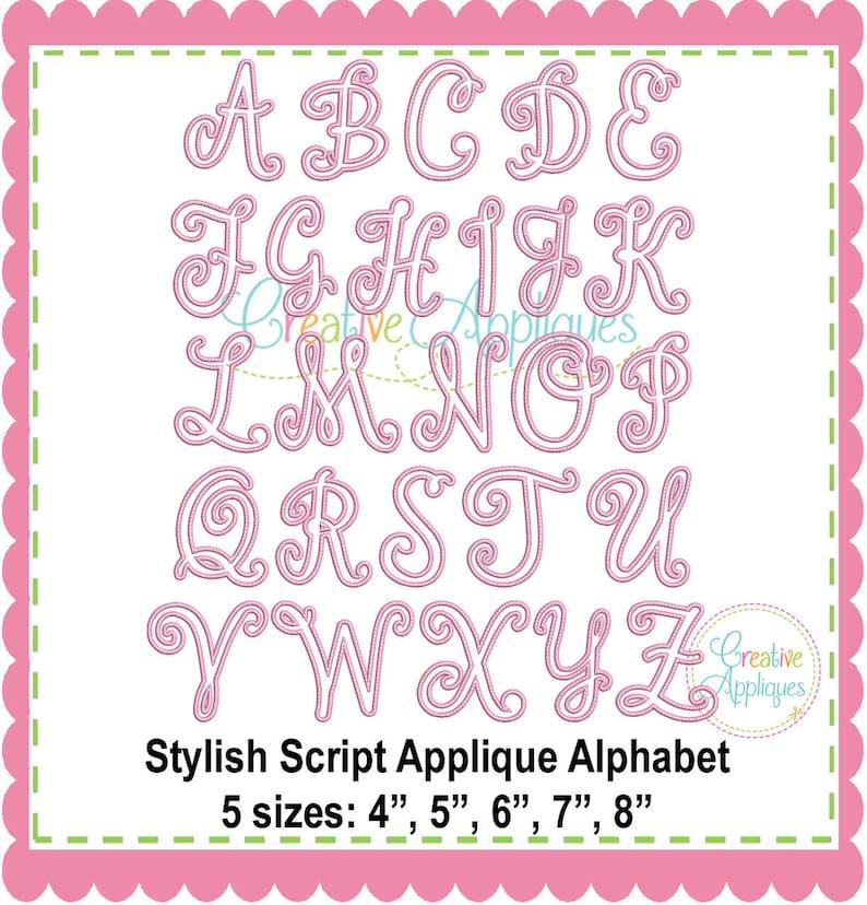 Stylish Script Applique Alphabet Letters A-Z Machine Embroidery 5 sizes,  alphabet applique, applique letters, cursive alphabet applique