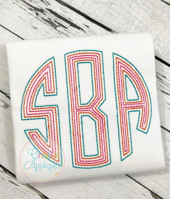 6 Sizes BX Natural Circle Floss Embroidery Monogram Alphabet Font + ...