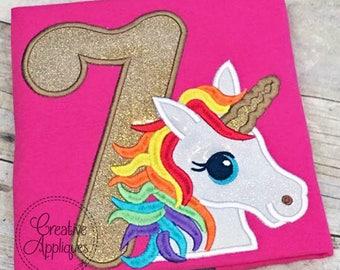 Rainbow Unicorn Birthday 7 Digital Machine Embroidery Applique Design 4 sizes, 7th birthday, 7 seven seventh unicorn birthday applique