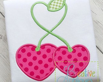 Cherries Cherry Hearts Applique Machine Embroidery  Design 4 Sizes