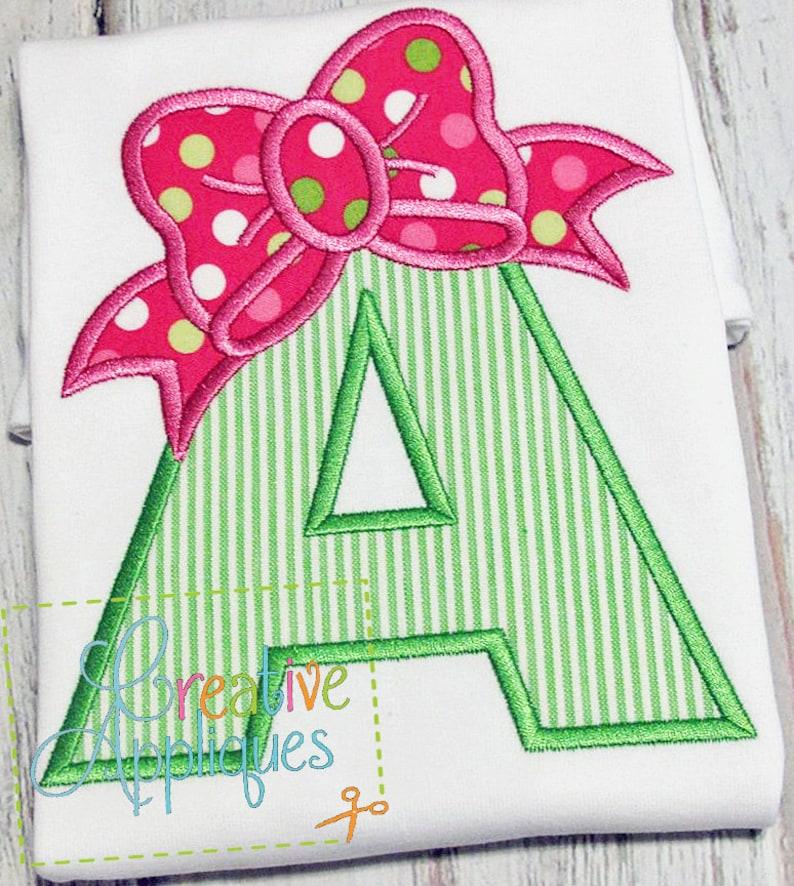 Bow Alphabet Letter Set A Z Applique Machine Embroidery Design | Etsy