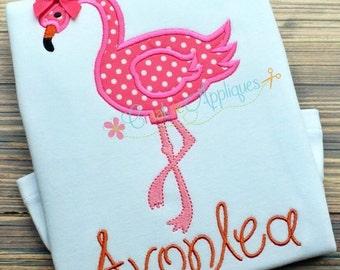 Flamingo Digital Machine Embroidery Applique Design 4 sizes, flamingo applique, flamingo embroidery, bird applique, bird embroidery