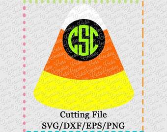 SVG EPS DXF Cutting File Candy Corn Monogram svg, candy corn svg, monogram svg, halloween monogram svg, halloween svg, creativeapplique
