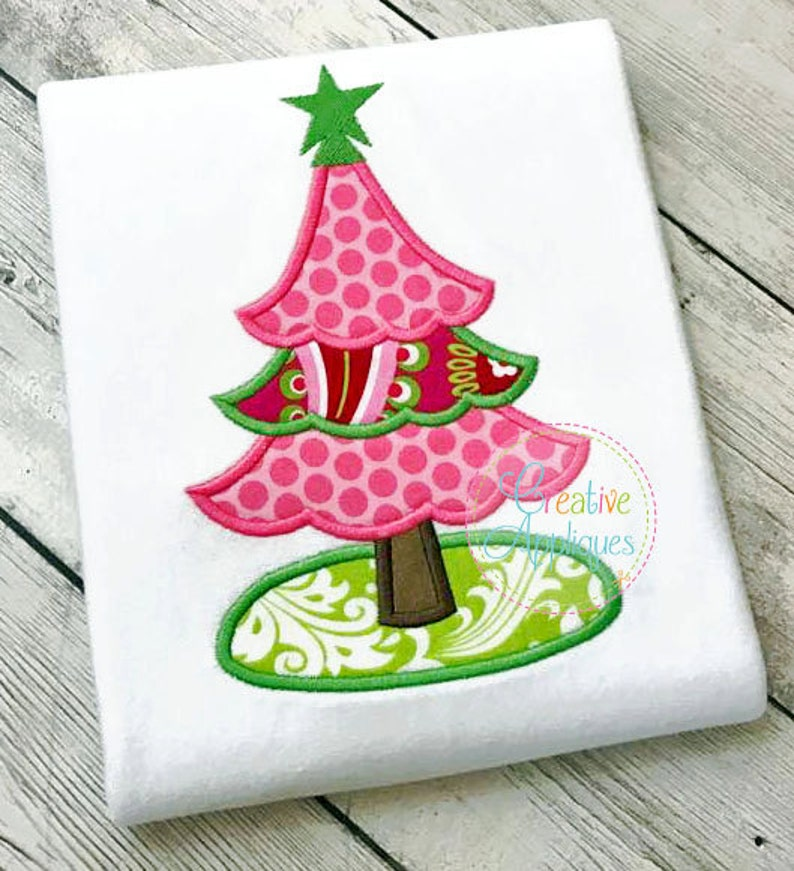 Christmas Tree Applique Digital Machine Embroidery Design 4 Etsy
